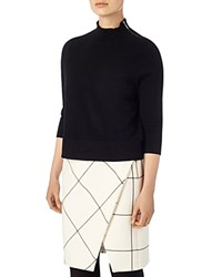 Phase Eight Marlee Zip Mock Neck Knit Sweater Black