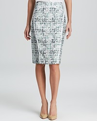 Lafayette 148 New York Sylvana Tweed Pencil Skirt Frosted Mint Multi