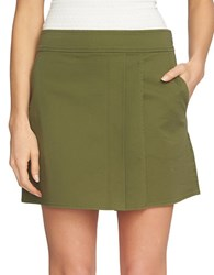 1.State Pleated Front Mini Skirt Green