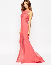 Forever Unique Angelina Maxi Dress With Lace Inserts Coral Orange