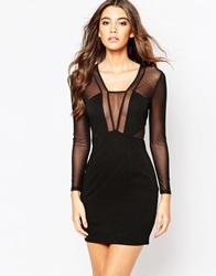 Naanaa Long Sleeve Mesh Mini Bodycon Dress With Plunge Front Black
