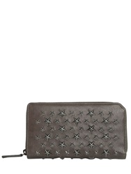 Jimmy Choo Stars Studded Leather Zip Around Wallet Grey Silver