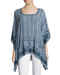Calypso St. Barth Petra Embellished Tunic Top Blue Moon