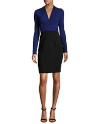Elie Tahari Heather Long Sleeve Two Tone Sheath Dress Blue