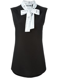 Moschino Receipt Print Pussy Bow Top Black