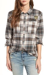 Treasure And Bond Women's Flannel Boyfriend Shirt Teal Titanic French Tartan