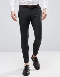 Asos Extreme Super Skinny Cropped Smart Pants In Charcoal Gray