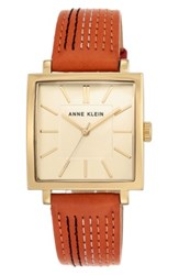 Anne Klein 'S Square Leather Strap Watch 42Mm X 34Mm