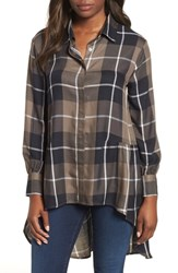 Bobeau Plaid High Low Peplum Tunic Blouse Olive Plaid
