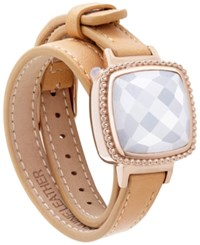 Macy's Ela Smart Jewelry Double Leather Wrap Bracelet In Quartz 13 1 5 Ct. T.W. And 14K Gold Plated Stainless Steel Light Brown