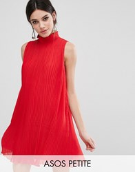 Asos Petite Sleeveless High Neck Pleated Swing Dress Raspberry Red