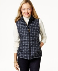Charter Club Quilted Vest Foulard Print Deepest Navy Combo