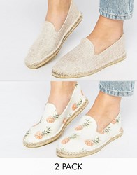 Asos Jeanie Two Pack Espadrilles Natural Pineapple Beige