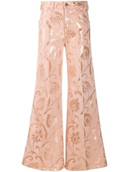 Etro Baroque Print Flared Jeans Pink