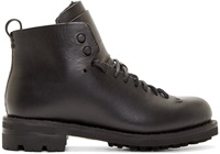 Feit Black Leather And Wool Hiker Boots