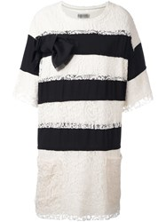 Faith Connexion Lace Overlay Striped Dress White