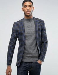 Asos Super Skinny Blazer In Grey And Navy Check Charcoal