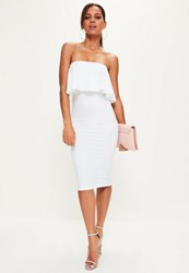 Missguided White Bandeau Frill Detail Midi Dress