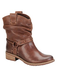 Sofft Adan Leather Slouchy Booties Brown