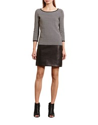 Lauren Ralph Lauren Houndstooth Drop Waist Dress Black Cream