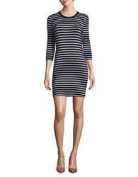 French Connection Bodycon Striped Dress Navy