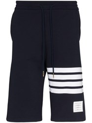 Thom Browne Striped Cotton Jersey Shorts Blue