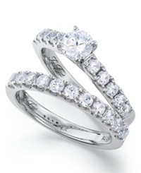Macy's Lucia Cut Certified Diamond Wedding Band And Engagement Ring Set In 14K White Gold 1 1 2 Ct. T.W.