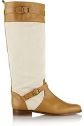 Candela Asher Canvas And Leather Boots Brown