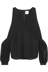 Dion Lee Cutout Silk Chiffon And Crepe De Chine Top