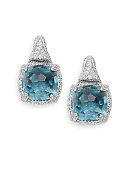 Judith Ripka Glacier Blue Spinel White Sapphire And Sterling Silver Cushion Earrings