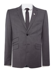 Ted Baker Single Breasted Giraffe Grey Tonal Check Suit