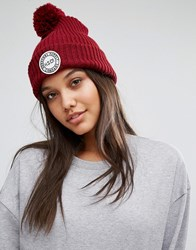 Herschel Knitted Bobble Beanie In Wine Windsor Wine Red