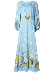 Andrew Gn Floral Print Gown Blue
