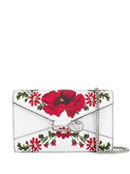 Alexander Mcqueen Floral Pin Wallet On Chain White