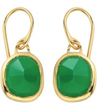 Monica Vinader Siren 18Ct Gold Plated Wire Earrings With Green Onyx