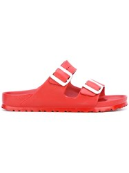 Birkenstock Buckle Slider Sandals Women Rubber 36 Red