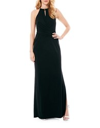 Laundry By Shelli Segal Necklace Detail Matte Jersey Gown Black