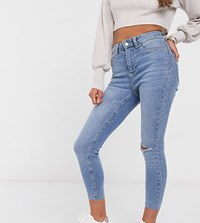 New Look Petite Ripped Disco Jeans In Blue