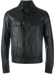 Emporio Armani Buttoned Leather Jacket Black
