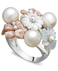 Macy's Pearl Ring Sterling Silver Mother Of Pearl And Cultured Freshwater Pearl Flower Ring White