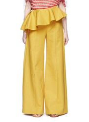 Rosie Assoulin 'Bearded Iris' Asymmetric Peplum Wide Leg Pants Yellow