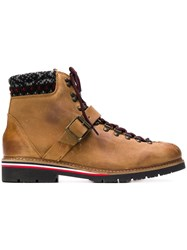 Tommy Hilfiger Knit Trim Ankle Boots Brown