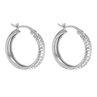 Ibb 9Ct White Gold Diamond Cut Creole Earrings White Gold