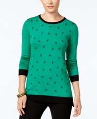 G.H. Bass And Co. Mixed Print Sweater Heather Lush Green Combo