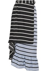 Preen By Thornton Bregazzi Don Striped Washed Silk Midi Skirt Black