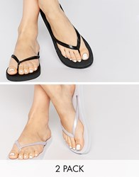 Asos Friendly Two Pack Flip Flops Black And White