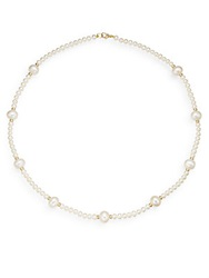 Saks Fifth Avenue 4Mm 9Mm White Fresh Water Pearl And 14K Yellow Gold Station Necklace