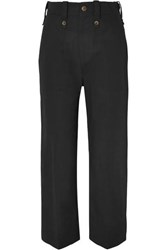 Bassike Cotton And Linen Blend Drill Tapered Pants Black