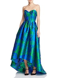 Paule Ka Strapless High Low Gown Blue