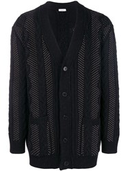 Valentino Microstud Cable Knit Cardigan Black